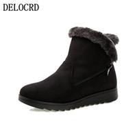 Wholesale blue female boots resale online - Women Zip Winter Snow Boots Ladies Warm Fur Suede Wedge Ankle Boot Female Fashion Casual Shoes Comfort Footwear Plus