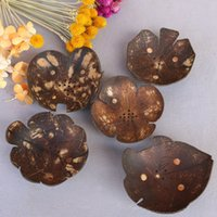 Creative Soap Dishes Retro Coconut Shell Soap Holder Natural Wooden Soap Tray Rack Plate Box WB1212