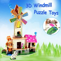 modelo de juguete molinos de viento al por mayor-Juguetes de rompecabezas de papel 3D Windmill Cottage DIY Fairytale Building Learning Jigsaw Model Kits Juguetes educativos para niños Regalo creativo Decoración para el hogar