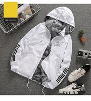 мужская одежда оптовых-Мужские дизайнерские куртки Горячие продажи дизайнерские пальто повседневные роскошные куртки с капюшоном двусторонняя полиэстер с длинным рукавом мода верхняя одежда AD ветровка