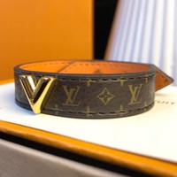 orijinal logo toptan satış-Lüks stil hakiki deri bilezikler için altın V tasarım ile çiçek desen bilezik ile marka logosu YENI moda takı uzunluğu 23 CM