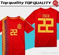 ventas de uniformes de futbol al por mayor-Hombres España casa rojo Fútbol Jersey 2018 copa del mundo España casa fútbol camiseta 2018 # 22 ISCO # 20 ASENSIO # 15 RAMOS Venta de uniformes de fútbol