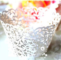 Wholesale cut lace cupcake for sale - Group buy Cariel pc White Vine filigree Laser cut Lace Cup Cake Wrapper Cupcake Wrapper FOR Wedding christmas Party Decoration E