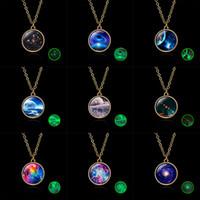 colar de céu estrelado venda por atacado-Bola de vidro New Handmade Vintage Planeta Universo Starry Sky Galaxy Mulheres Colar Pingente Tempo Moda Gem Jóias Acessórios