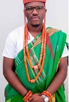 colar de coral laranja venda por atacado-Colar de casamento Set 2 Camadas Laranja Nigeriano Originais Dos Homens de Coral contas de Conjunto de Jóias Belo Luxo Noivo Jóias Set Navio Livre