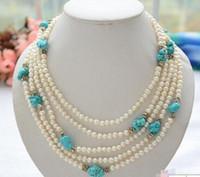 белое жемчужное бирюзовое ожерелье оптовых-ожерелье Бесплатная доставка ++ 5row 20