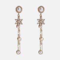 imitação gemstone jóias venda por atacado-Jóias Europeu e Americano temperamento floco de neve brincos feminino imitação de pérolas gemstone borla brincos yuan moda elegante simples lon