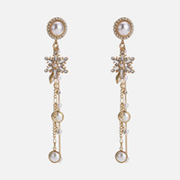 taklit mücevherat takı toptan satış-Takı Avrupa ve Amerikan mizaç kar tanesi küpe kadın İmitasyon İnci taş püskül küpe yuan moda zarif basit lon