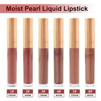 benutzerdefinierte lippenstift großhandel-Großhandel 6 Farben MoistPearl Shiny Liquid Lipstick Nude Metall Glitter lang anhaltende Matte Lipgloss Custom Private Label Vendor