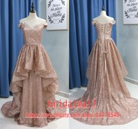 Wholesale black corset sparkly prom dresses for sale - Group buy 2020 Glitter Rose Gold Sequined Long Prom Dresses Sexy Off Shoulder Crystal Long Party Gowns Sparkly Pleat Corset Back Formal Evening Dress