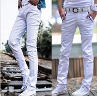 jeans blancos diseñados para hombres al por mayor-HOT 2019 Moda blanco / negro Diseño Pantalones de chándal para hombres Pantalones largos casuales Jeans Homme Skinny Jeans Adolescentes niños Pantalones lápiz