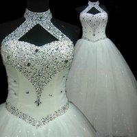 vestidos de casamento do transporte rápido venda por atacado-2020 Halter africano arabic praia vestidos de contas de cristal do pescoço vestido de baile vestido de noiva Lace Up Vestidos de casamento Transporte rápido