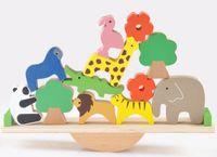 wald tier baby spielzeug großhandel-Holzwald Tiere Wippe Schwebebalken Baby Frühförderung Bausteine fördern die Fantasie, Kreativität, Balance Baby Spielzeug