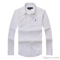 algodón puro largo al por mayor-2018 nuevos hombres de otoño e invierno camisa de algodón de manga larga para hombres puros casual POLOshirt moda Oxford camisa marca social pequeña hor