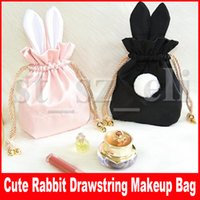 Wholesale vanity case cosmetic bags for sale - Group buy Cute Rabbit Neceser Vanity Trip Travel Drawstring Cosmetic Makeup bag Make Up Suitcase Case Storage Pouch Women String Bunny Purses