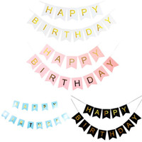 ingrosso bandiere appesi a compleanno-Birthday Party Decor Swallowtail Flag Hanging Banners Pull Flag Window Flags Bambini Happy Birthday Party Celebration bandiere DH1285