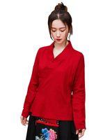 blusa de manga larga china al por mayor-Historia de Shangai Mujeres Estilo chino tradicional Manga larga Algodón Lino Tops Blusa