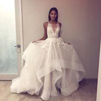 ingrosso abiti arabi dubai-Abito da sposa scollo a V 2019 Abiti da sposa bellissimi Una linea Boho Abito da sposa Abito Sofuge Vestido De Noiva Dubai Suknia arabo