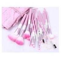 caja de pinceles de maquillaje rollo al por mayor-24 piezas de maquillaje profesional Pinceles de maquillaje Cosmetic Brush Set Kit Tool + Roll Up Case