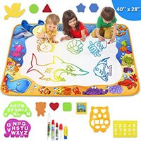 Wholesale magic doodle pens resale online - Kids Painting Writing Doodle Board Toy Color Doodle Magic Drawing Mat Bring Magic Pens Educational Toys for Girls Boys Age Toddler Gift