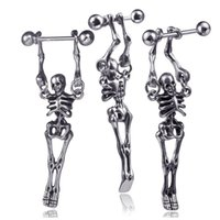 Wholesale skull studs resale online - Skeleton Style Ear Piercing Stud Stainless Steel Skull Ear Jewellery For Salon and Piercing Supplies