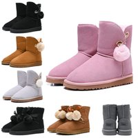 Wholesale new flat heels for sale - Group buy Women Boots WGG Australia Classic Snow Booties Bailey Hairball Bow Tie Ankle Knee Womens Girls Luxury Designer Winter Boot New Arrival