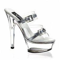 kulüp partisi dansı toptan satış-Gümüş Yaz Kayış 15 CM Yüksek Topuklu Platformu Seksi Gece Kulübü Parti Terlik Dans Ayakkabıları Kadın Kutup Dans Ayakkabıları