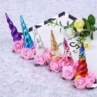beliebte blaue blumen großhandel-4,5g Mädchen Einhörner Clip Blumen Semi-manuelle Haarnadel Mode Schöne Kopfbedeckungen Beliebte Verkaufen Gut Gold Blau Lila Farben 2 2sx J1