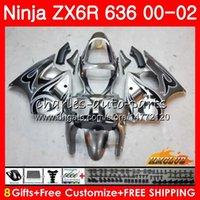 carenado abs zx 636 al por mayor-Cuerpo para KAWASAKI NINJA ZX 600 CC 600CC 6 R llamas negras ZX636 ZX6R 00 01 02 37HC.162 ZX 636 ZX-6R ZX-636 ZX 6R 2000 2001 2002 Kit de carenado