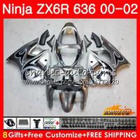 комплекты обтекателей для кавасаки zx6r оптовых-Корпус Для KAWASAKI NINJA ZX 600 CC 600CC 6 R черный огонь ZX636 ZX6R 00 01 02 37HC.162 ZX 636 ZX-6R ZX-636 ZX 6R 2000 2001 2002 Обтекатель