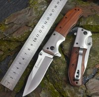 Wholesale wood handle folding knives resale online - Angle Browning DA43 Folding knife Cr13 Blade Rosewood Handle Titanium Tactical Knife Camping Tool fast open Hunting Survival auto Knife