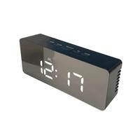 reloj de pared con luz led al por mayor-12H / 24H Pantalla digital Reloj despertador Espejo, Relojes de mesa digitales de escritorio LED, Luces nocturnas Termómetro Reloj de pared digital