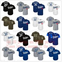 jerseys verdes azules al por mayor-Hombres Mujeres Juventud Dodgers Jersey 22 Clayton Kershaw Niños 35 Cody Bellinger Béisbol Jersey Blanco Gris Gris Bkack Azul Verde Saludo a