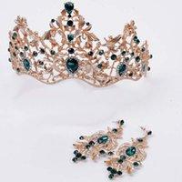 ювелирные изделия оптовых-Women Baroque Retro Style Jewelry Set Bridal Wedding  Tiara Earrings Ladies  Shining Rhinestone Hair Jewelry Set