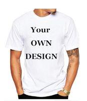 t-shirts personnalisés, plus la taille des femmes achat en gros de-2019 Votre propre Logo / Image Marque White Custom t-shirt pour hommes et femmes Plus Size T Shirt Homme Vêtements T010