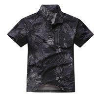 männer jagd shirts großhandel-Shanghai Story Herren Tactical Army Hunting Polo Shirt Kurzarm Oberteil