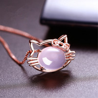 Wholesale cat pendant rose gold resale online - Korean version of the natural powder crystal chalcedony rose gold Katy kitten pendant sprouting cat silver clavicle chain gift female