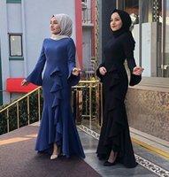 vestido muçulmano fishtail venda por atacado-2019 venda quente mulheres muçulmanas sino manga fishtail hip maxi dress robe jilbab kaftan dubai islâmico vestido de coquetel