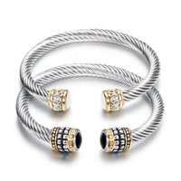 Wholesale bracelet semi precious stones for sale - Bangles Jewelry Fashion Women Elegant Vintage Black White Semi precious Stone Bracelets Stainless Steel Open Bangles LR044