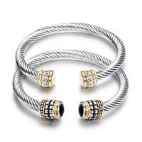 pulseras elegantes al por mayor-Brazaletes de joyería de moda mujer elegante vintage negro blanco semiprecioso pulseras de piedra al por mayor de acero inoxidable brazaletes abiertos LR044