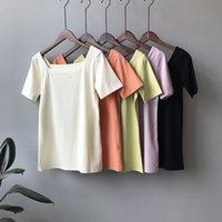 camisetas verdes en blanco al por mayor-Cuello cuadrado Mujer Camiseta en blanco Manga corta Naranja Verde Negro Verano Camiseta Tops