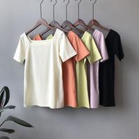 ingrosso t-shirt verdi in bianco-T-shirt da donna scollo tinta unita bianca manica corta T-shirt da donna estiva verde arancione nera