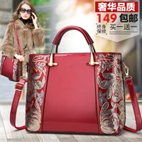 Wholesale patent genuine leather hand bag resale online - Superior2019 Bag Mom Tide Finalize The Design Joker Bale Will Capacity Genuine Hand Bill Of Lading Shoulder Patent Leather Middle Age