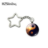ingrosso pendente di amanti di yin yang-Yin Yang Universe Galaxy Glass Picture Pendant Handmade Mens Womens Star Keychians Jewelry Bag portachiavi gioielli portachiavi