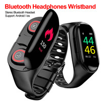 Wholesale wrist bluetooth headset for sale – best New smart watch with wireless Bluetooth headset in ear sport watch smart wristband men s headphones for Android IOS