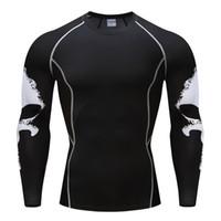 base layer toptan satış-Punisher Mma T Shirt Sıkıştırma Tops Mens Uzun Kollu Üst Crossfit Spor Baz Katman Ağırlık Kaldırma Giysi Artı Boyutu S-4XL