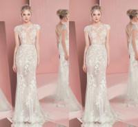 Wholesale zuhair murad lace trumpet dress resale online - Zuhair Murad Illusion Bodice Mermaid Wedding Dresses Lace Applique Short Sleeve Sweep Train Bridal Gowns Plus Size Robe De Mariée