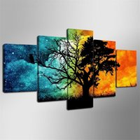 Wholesale tree life canvas print resale online - Unframed Framed Blue Red Tree Pieces Canvas Prints Wall Art Oil Painting Home Decor