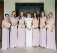Wholesale dark blue classic wedding dresses for sale - Group buy 2019 classic elegant sheath Bridesmaid Dress Lilac soft chiffon Cheap long Maid of Honor Gowns floor length customized Wedding Guest Dresses