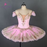 erwachsene spitze kleid großhandel-erwachsener profesional Tutu rosa Goldspitze Hülse professionelle Ballettröckchen Dornröschen Ballett-Tutu Individuelle Kleid